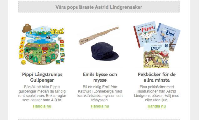 Populäraste Astrid Lindgrensakerna hos Lilla Bus