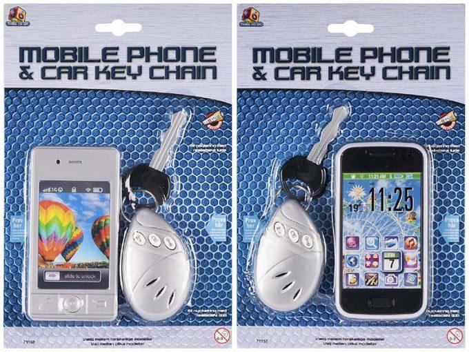 mobiltelefon och bilnycklar