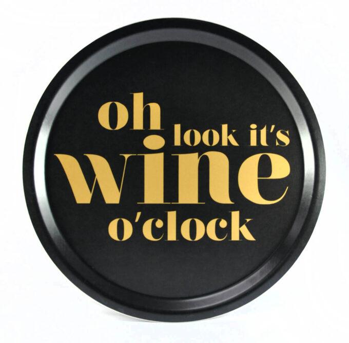 Bricka wine o clock svart guld