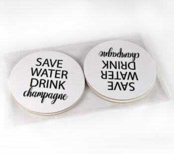 glasunderlägg save water svart/vit