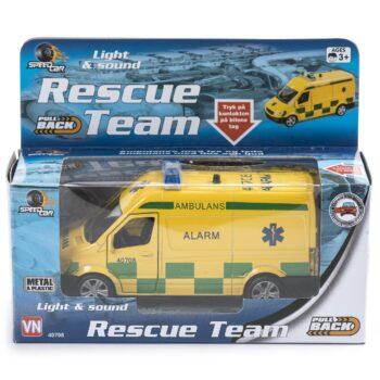 ambulans med ljud och ljus