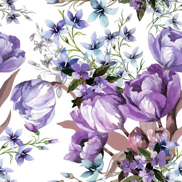 matservett blommor lila
