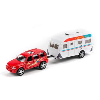 bil med husvagn röd
