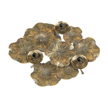 Ljusstake blad guldbrun