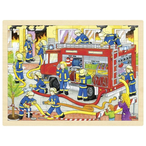 Träpussel brandbil