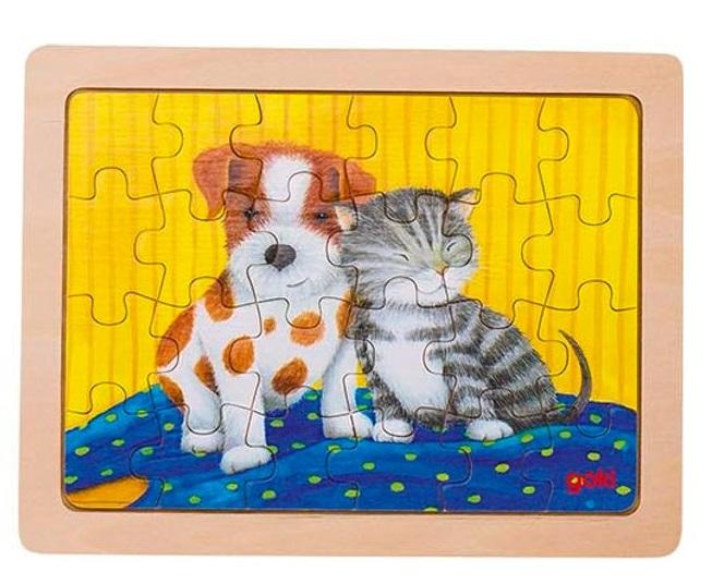 träpussel djurvänner hund o katt